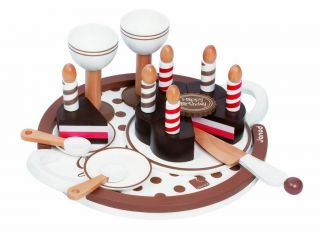 Janod Juratoys Wooden Birthday Party Cake Set Preschool Kids Play Food Set