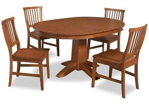 "42"" Round Arts Crafts 5 PC Dining Table Chairs Set in Oak Expandable To"