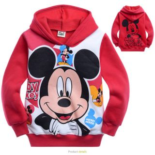 3 10 Years Kids Baby Children Boys Red Mickey Fleece Hoodie Sweatshirt FX12177