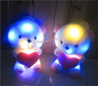 Cute LED Light Up Colorful Heart Bear Night Light Lamp Doll Stuffed Plush Toys