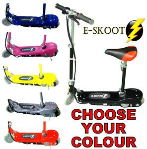 New Kids Electric E Scooter 120W Ride on Battery Toy Adjustable Removable Seat