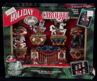 Mr Christmas Musical Lighted Animated Carousel Horses Plays 21 Songs New Vtg 94