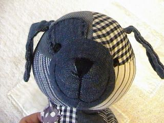 Pottery Barn Kids Blue Patchwork Puppy Dog Toy Lovey