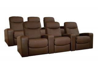Leather Home Theater Seating 6 Brown Cannes Recliners