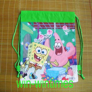 Spongebob Squarepants Green Drawstring Bag Kids Children Backpack Tote Bag F