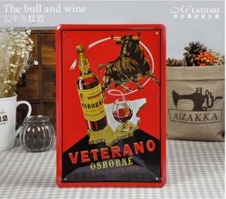 The Bull and Red Wine Tin Metal Sign Bar Pub Home Fashion Wall Decor S115