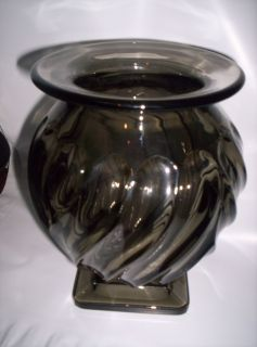 Charcoal Gray Smoke Heavy Glass Vase