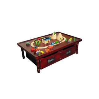 Today's Tot Summerside Wooden Activity Train Play Table w Drawers Kids Cherry