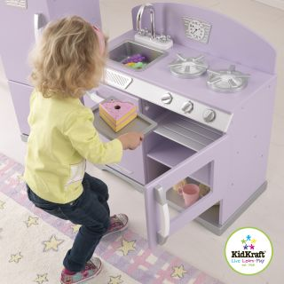 KidKraft Retro Kitchen Refrigerator Kids Pretend Playset Lavender 53290