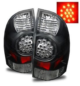 05 08 Toyota Tacoma Prerunner x Runner Black LED Tail Lights Brake Lamp Housings