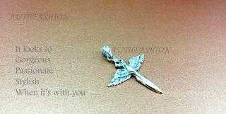 Mens Womens Sterling Silver Cross Pendant Angel Wings Sword Fine Jewelry P176S