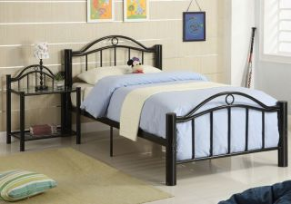 White Black Stylish Pole Design Youth Kids Durable Metal 15 Slats Twin Full Bed