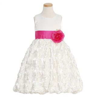 Lito Girls 12 Ivory Fuchsia Floral Ribboned Flower Girl Dress