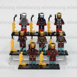 8 Building Blocks Marvel Super Hero Iron Man Ironman Mini Action Figure No Box
