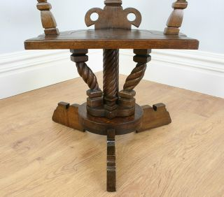 Antique Scottish Celtic Oak Arts Crafts Office Desk Revolving Armchair Chair