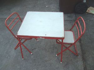 Childrens Retro Metal Folding Table Chairs Hampden 3 Pcs 1960s Need Little TLC