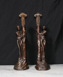 Pair French Art Nouveau Bronze Candle Sticks Candelabras