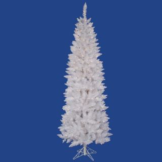 Vickerman Crystal White Spruce Pencil 7.5 Artificial Christmas Tree with 350 Clear Lights with Stand