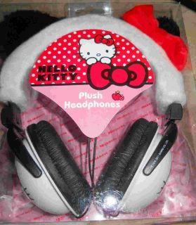 Hello Kitty Black White Plush Ears Red Bows Padded Headphones