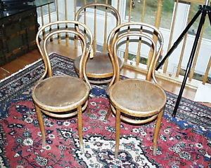 Original Kohn Austria Vienna Art Deco Modernist Bentwood Chairs 1800s Early 20th