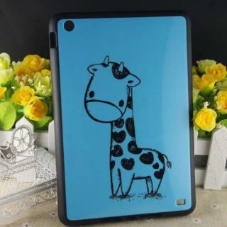 Blue Giraffe Animal TPU Rubber Bumper Case for Apple iPad Mini