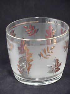 Vtg Libbey Frosted Glass Gold Falling Autumn Maple Oak Leaf Leaves Ice Bucket