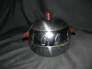 Vtg Art Deco Penguin West Bend Hot Cold Server Chrome Ice Bucket Bakelite Handle