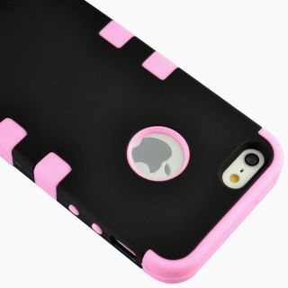 3 Piece Hybrid Combo Rugged Rubber Matte Hard Cover Case for iPhone 5 5S