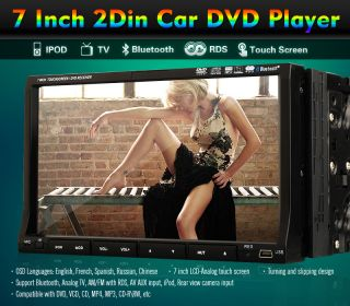 "Hitachi Head Double DIN 7"" Car Stereo Radio DVD Player iPod Bluetooth TV Mic"