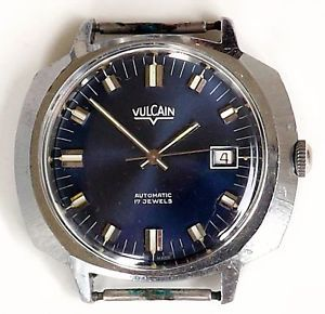 Vulcain Stainless Steel Watch Mens Automatic 17 Jewel Blue Dial Large Case