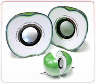 Apple Shaped USB Powered 2 0 Multimedia Speakers for PC Laptop  Phones Green