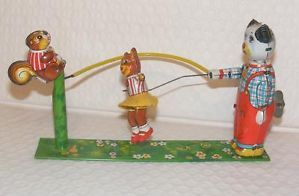 Vintage Tin Wind Up Toy Playing Jump Rope Dog Squirrel Bear 40's 50'S