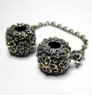 Authentic Pandora Silver Flower Bouquet Clip Safety Chain w 14k Dots 790864