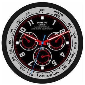 Car Race Style Chronograph Enlarged Home Office Wall Clock Black Red Grey