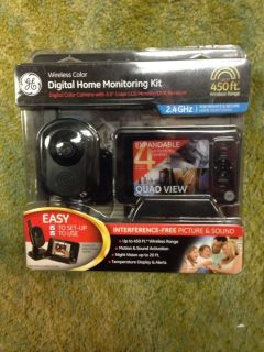 GE Wireless Color Digital Home Monitoring Camera LCD Monitor Security Kit