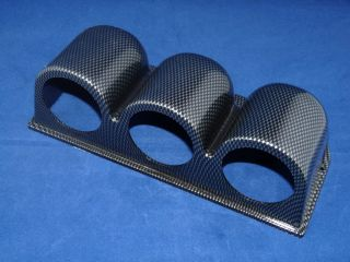 "Triple Gauge Meter Pod Holder Bracket 2"" or 52mm Carbon Fiber Look Housing"