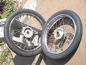 Honda Express NC 50 Moped Parts Front Rear Rims w Tires Complete w Hubs