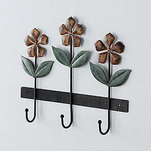 New Fetco Mayer Flowers Floral Leaves Bronze 3 Wall Hooks Decorative Art