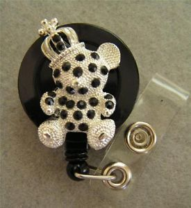 Silver Black Rhinestones Teddy Bear ID Badge Holder Retractable Slide Clip