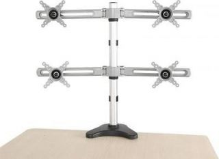 "Quad 4 LCD Monitor Desk Mount 10"" to 24"" Stand Height Adjustable w Tilt New"