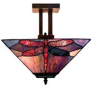 Tiffany Style Dragonfly Light Fixture Ceiling Lamp Lights Lighting New