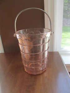 Pink Depression Glass Ice Bucket