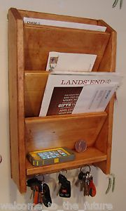 "18"" Mail Letter Rack Handcrafted Wood Organizer Key Holder Wall or Desk Cherrywd"