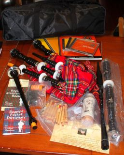 Roosebeck Unused Blemished Starter Bagpipe w John Cairns Instructional Tutor