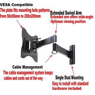 "Swivel Tilt LCD LED Plasma TV Wall Mount DVD DVR VCR Bracket 23 24 26 32 37"" CZG"