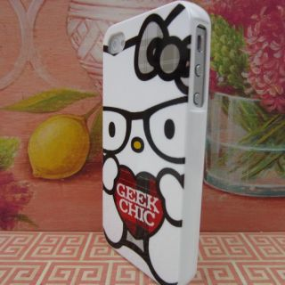 Nerd Hello Kitty Rubber Silicone Skin Case Phone Cover for Apple iPhone 4 4S 4G