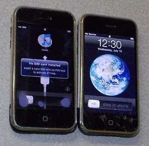 Lot of 2 Apple iPhone 2G Silver Black 16GB 1st Gen Smartphone as Is