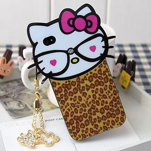 New Leopard Hello Kitty Case Cute Soft TPU Back Skin Cover for iPhone 4 4G 4S