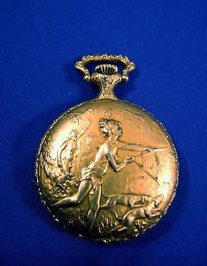 Baylor Swiss Made Pocket Watch 17 Jewel Lady Dog Hunter Case Sidewinder Parts