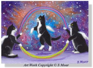 Tuxedo Angel Kitten Cat Rainbow Bridge Jump Rope Stars ACEO Original Art Smoar
